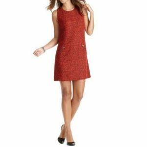 LOFT Red Black Sleeveless Shift Dress